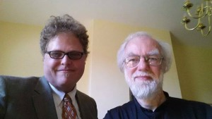 With Dr Rowan Williams, retired Archbishop of Canterbury, in his home, the Master's residence at Magdalene College, Cambridge. 2 July 2014.